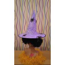 Sombrero Bruja C/aplique Halloween Disfraz Carnaval Carioca