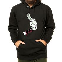 Blusa Moleton Casaco Mickey Dedo Do Meio Thug Life