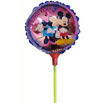 10 Globos Con Varilla/palito 11 Pulgadas Minnie Mickey Dora