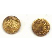 B3107 Moeda De Ouro 20 Dolares (replica Em Ouro 14) Double E