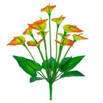 Bq Copo De Leite Laranja C/12 Flores 42 Cm -flor Artificial