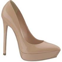 Zapatillas Zapatos Beige Nude De Charol Andrea Tacón Alto