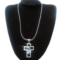 Corrente Pipoca Prata De Bali + Pingente Crucifixo Barato