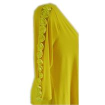 Blusa Cache Coeur Mg¾ Apliq Rosas Viscolyc Amarela 52 Re1271
