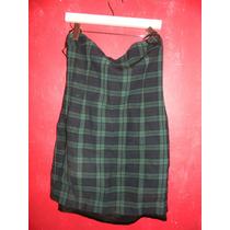 Hermoso Vestido Strapless De Lana Cuadros Tela Tipo Escocesa