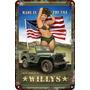 Vinilo Carteles Antiguos De Chapa 60x40cm Jeep Willys Au-286