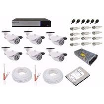 Kit Cftv Dvr Ahd-m Luxvision 8 Ch + 6 Câmera 1.3 Mp + Hd 1t