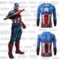 Poleras Super Heroes Capitan America, Superman Y Spiderman