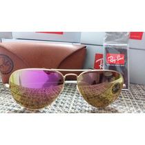 Óculos Aviador Armação Dourado Lente Rosa Espelhada