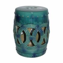 Seat Garden Akita Em Cerâmica - Banco De Jardim - Verde Azul