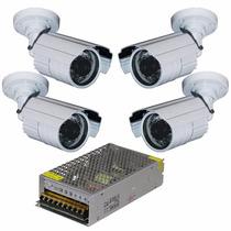 Kit Com 4 Cameras Seguranca Infra Ccd 800 Linhas + Fonte 10a