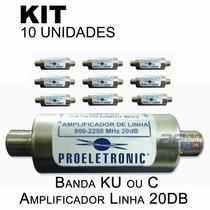 Kit 10 Pçs - Amplificador Sinal Satelite Banda C Ou Ku 20db