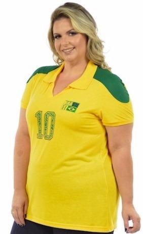 f2f823aab2 Kit 3 Blusas Femininas Brasil Copa Plus Size Malha Fria - R  177