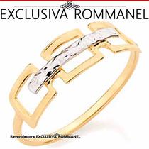 Rommanel Anel Quadrados Vazados Folheado Ouro Aliança 510002
