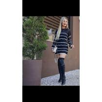 Vestido Tricot Roupa Feminina Croche Outono Inverno
