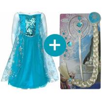 Vestido Frozen Fantasia Elsa Ou Anna + Kit Acessorios