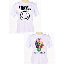 Kit C/ 2 Camisas Estampadas Banda Rock Nirvana Kurt Cobain