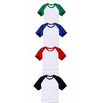 Camiseta Ragla P/ Sublimação Detalhes Coloridos 100%poliést