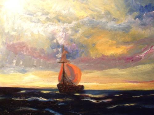 Galeon Cuadro Pintura Al Oleo De Antigua Escena Marina 1 440 00