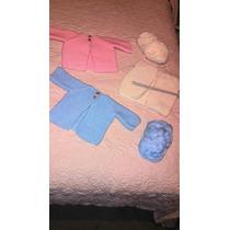 Sweater Tejido A Mano Para Bebe De 6m,azul, Rosa Y Hueso.