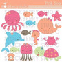 Kit Imprimible Animalitos Fondo Del Mar 4 Imagenes Clipart
