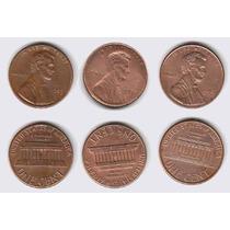 Estados Unidos, 3 Monedas Diferentes De 1 Centavo 1984-1999
