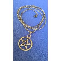 Colar Pentagrama Bronze Proteção Amuleto Wicca Coven