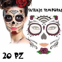 Tatuaje Disfraz Catrina Día De Muertos Lote 20pz