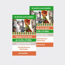 Invitaciones Tarjetas Zootopia Cumpleaños X10u