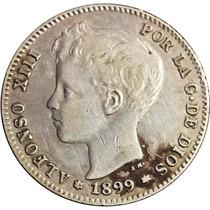 C C / España Alfonso X||| 1 Peseta 1889 Km#706 Plata