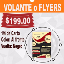 Volantes O Flyers, 1/4 Carta, Color Frente-vuelta Negro