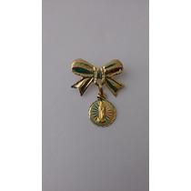 Broche Bautizo Niña Oro 10k Con Medalla A