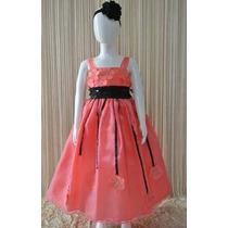 Vestido Para Niña (princesa Presentación) Coral Con Negro