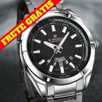 0c42a2603d196 Relógio Masculino Pulseira Aço Inox Social Luxo Frete Grátis - R  159,00 em  Mercado Livre