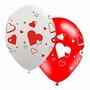 Balão Latex Bexiga Coração Vermelho - Pct 25 Balões