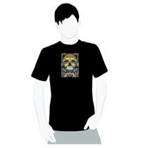 Camisa 100% Algodão- Caveira Tribal Mayan - Moto Rock Moda