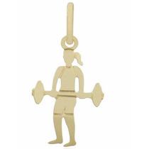 Pingente Banhado A Ouro Mulher Fitness Academia Halter Peso