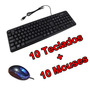 Kit 10 Teclados Usb + 10 Mouses Usb Barato Revenda