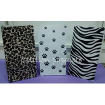10 Bolsas Papel Animal Print Leopardo Cebra Huellas Animal