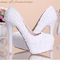 Sapatos De Casamento Pérola Renda De Salto Alto Importado