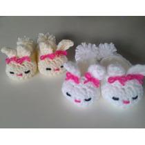 Zapatos O Babuchas Tejidas Para Bebé Figura Conejo