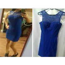 Vestido Azul Renda E Tela Costas Justo P Balada Panicat
