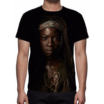 Camisa, Camiseta The Walking Dead - Michonne Estampa Total