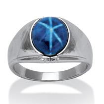 Anillo Plateado Zafiro Estrella Azul Ovalado Hombre Talla 12
