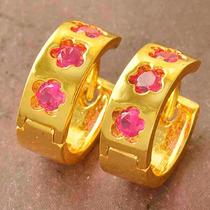 Aretes Aros Oro Laminado 18k Con Zircones Cúbicos Rojos