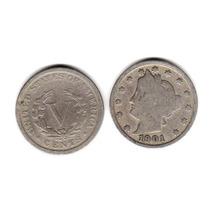 Moneda Estados Unidos De 5 Centavos Año 1901 Buena-