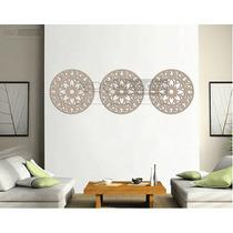 Trio Mandalas Mdf 3 Mm Cru Escultura De Parede - 60 X 60 Cm