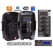 Bafle 15 Potenciado Bluetooth Fm Usb Mp3 Sd Lee Carpetas Cjf