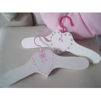 Perchas Infantiles-bebe O Niños-pintadas A Mano Con Apliques