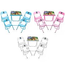 Mesa Para Criança Infantil Com 04 Cadeiras Desenho Dobrável